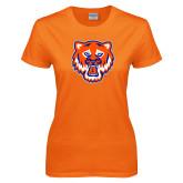 Ladies Orange T Shirt-Bearkat Head
