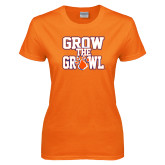Ladies Orange T Shirt-Grow the Growl