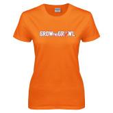 Ladies Orange T Shirt-Grow the Growl Horizontal