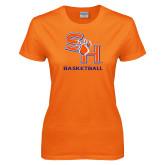 Ladies Orange T Shirt-Basketball