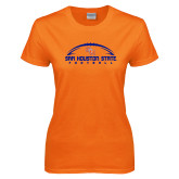 Ladies Orange T Shirt-Arched Football Design