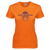 Ladies Orange T Shirt-Tall Football Design