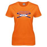 Ladies Orange T Shirt-Baseball Bats