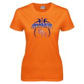 Ladies Orange T Shirt-Basketball in Ball
