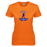 Ladies Orange T Shirt-Golf Stacked