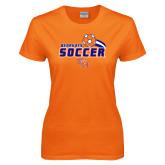 Ladies Orange T Shirt-Soccer Swoosh