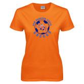 Ladies Orange T Shirt-Soccer Circle