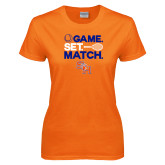 Ladies Orange T Shirt-Tennis Game Set Match