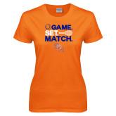 Ladies Orange T Shirt-Tennis Game Set Match