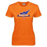Ladies Orange T Shirt-Track and Field Side Design