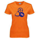 Ladies Orange T Shirt-Volleyball Design
