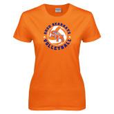 Ladies Orange T Shirt-Volleyball Stars Design