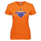 Ladies Orange T Shirt-2017 Southland Conference Baseball Champions