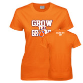 Ladies Orange T Shirt-Grow the Growl