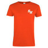Ladies Orange T Shirt-Primary Athletics Mark