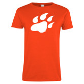 Ladies Orange T Shirt-Secondary Athletics Mark