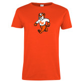 Ladies Orange T Shirt-Bearkat Full Body