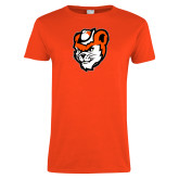 Ladies Orange T Shirt-Bearkat Head