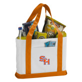 Contender White/Orange Canvas Tote-SH Paw Official Logo