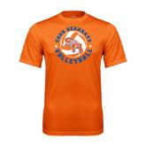 Performance Orange Tee-Volleyball Stars Design
