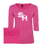 Ladies Dark Fuchsia Heather Tri Blend Lace 3/4 Sleeve Tee-SH Paw Official Logo
