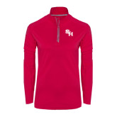 Ladies Pink Raspberry Sport Wick Textured 1/4 Zip Pullover-SH Paw Official Logo