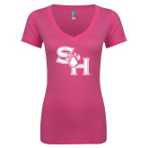 Next Level Ladies Junior Fit Deep V Pink Tee-SH Paw Official Logo