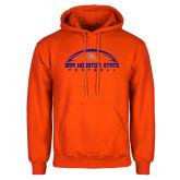 Orange Fleece Hoodie-Arched Football Design
