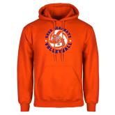 Orange Fleece Hoodie-Volleyball Stars Design