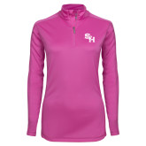 Ladies Syntrel Interlock Raspberry 1/4 Zip-SH Paw Official Logo