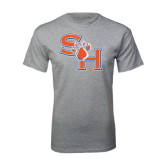 Sport Grey T Shirt-SH Paw Official Logo Distressed