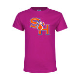 Youth Fuchsia T Shirt-SH Paw Official Logo