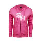 ENZA Ladies Fuchsia Fleece Full Zip Hoodie-SH Paw Official Logo