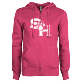 ENZA Ladies Fuchsia Fleece Full Zip Hoodie-SH Paw Official Logo
