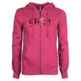 ENZA Ladies Fuchsia Fleece Full Zip Hoodie-Arched SHSU Foil