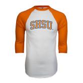 White/Orange Raglan Baseball T Shirt-Arched SHSU