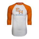 White/Orange Raglan Baseball T Shirt-Baseball