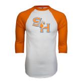 White/Orange Raglan Baseball T Shirt-SH Paw Official Logo Distressed