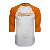 White/Orange Raglan Baseball T Shirt-Softball Lady Design