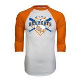 White/Orange Raglan Baseball T Shirt-Softball Design w/ Bats and Plate