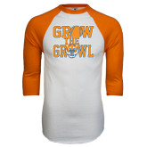 White/Orange Raglan Baseball T Shirt-Grow the Growl - Baseball
