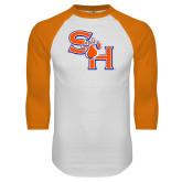 White/Orange Raglan Baseball T Shirt-SH Paw Official Logo