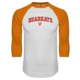 White/Orange Raglan Baseball T Shirt-Arched Bearkats w/Paw