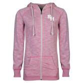 ENZA Ladies Hot Pink Marled Full Zip Hoodie-SH Paw Official Logo