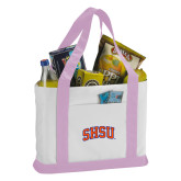 Contender White/Pink Canvas Tote-Arched SHSU