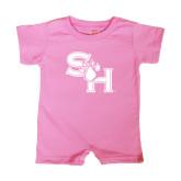 Bubble Gum Pink Infant Romper-SH Paw Official Logo
