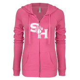 ENZA Ladies Hot Pink Light Weight Fleece Full Zip Hoodie-SH Paw Official Logo