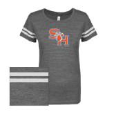 ENZA Ladies Dark Heather/White Vintage Triblend Football Tee-SH Paw Official Logo