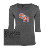 Ladies Charcoal Heather Tri Blend Lace 3/4 Sleeve Tee-SH Paw Official Logo