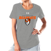 Ladies Under Armour Grey Charged Cotton Tee-Sam Houston Secondary Mascot Lock Up